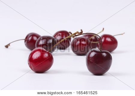 Cherries Chile is isolated on white background.