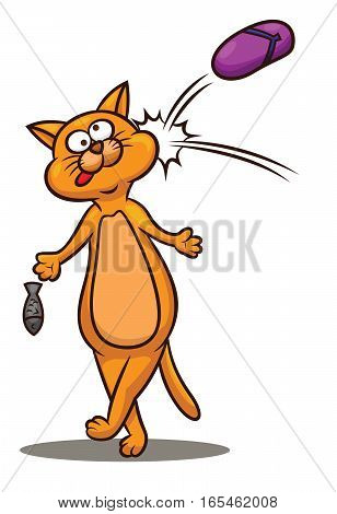 Cartoon Cat Being Hit in the Head with Sandal Cartoon Illustration
