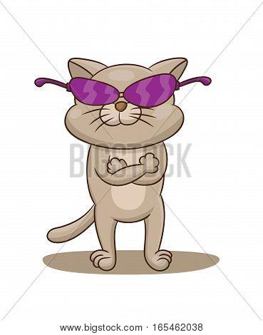 Cat Wearing Glasses Cartoon Illustration Isolated on White