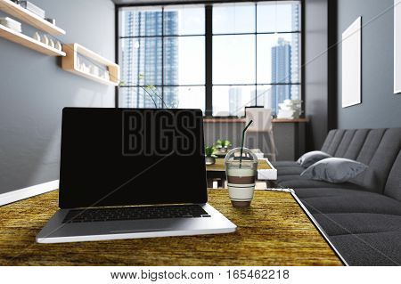 3D Rendering : illustration of close up laptops at coffee cafe decoration interior or pc office of computer worker interior.modern loft cafe style.city view out side. worked at cafe
