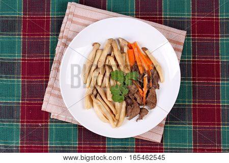 Fried Eryngii Mushroom With Pork Liver And Carrot.