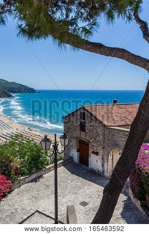 Colorful view of Sperlonga in May Lazio Italy.