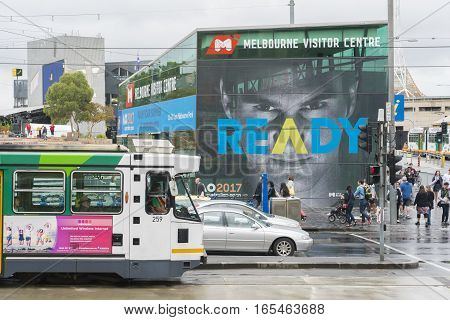 Melbourne, Australia - January 2, 2017: View of Australian Open advertisement sign in Melbourne CBD during daytime.