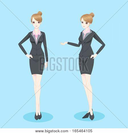 beauty cartoon businesswoman show something to you