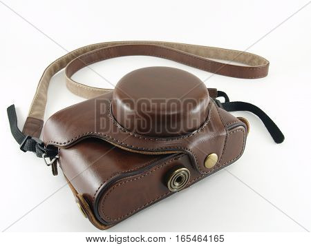 brown camera leather case (half case) isolated on white background