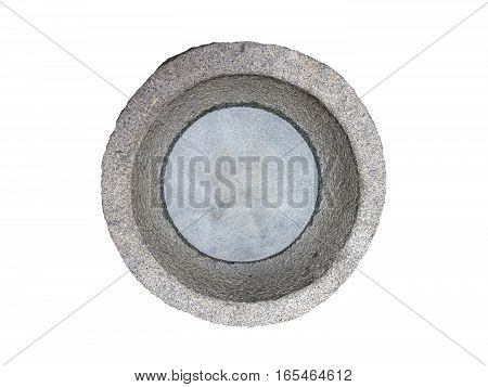 Mortar Isolate Chinese Antique Mortar Granite Stone Mortar with Water on White Background