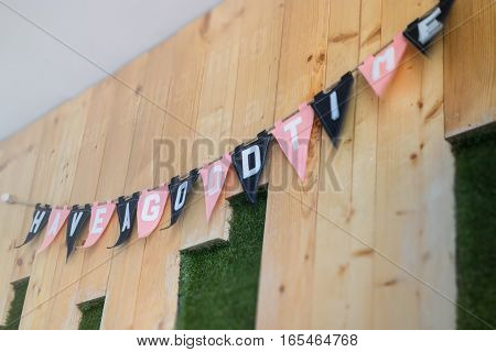 Have a good time flags decorated on the wall stock photo
