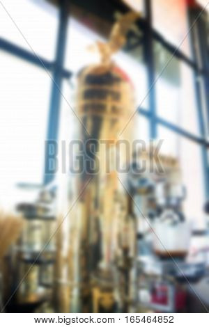 Blurred vintage luxuary espresso machine stock photo