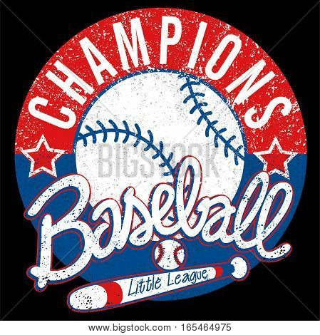 Baseball Champions league distressed emblem with bat and ball .