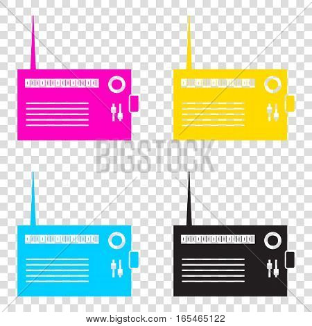 Radio Sign Illustration. Cmyk Icons On Transparent Background. C