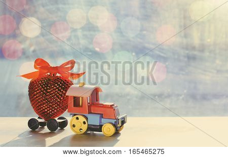 valentine's day greeting card vintage toy steam train transporting red heart with ribbon bow retro style