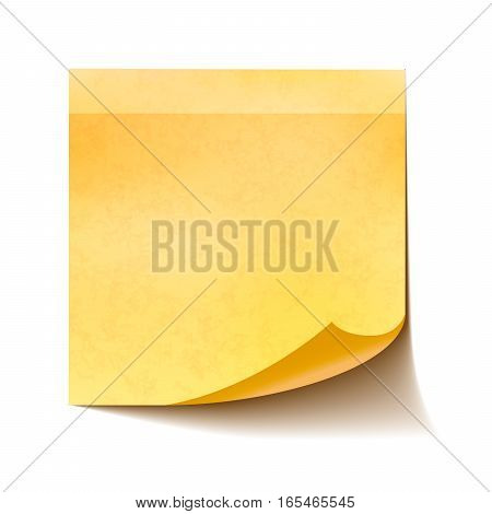 Realistic yellow sticky note isolated on white background