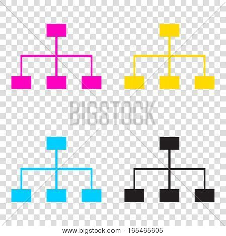 Site Map Sign. Cmyk Icons On Transparent Background. Cyan, Magen