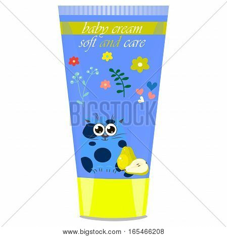 High quality original trendy vector Baby cream tube with kids design and cat, pear illustration