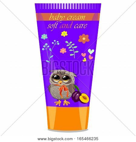 High quality original trendy vector plum Baby cream tube with kids design and owl on floral background illustration