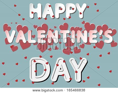 different vector lettering word of happy valentines day with white red and gray gradient as paper or metallic effect on blue withe red heart pattern retro colors background