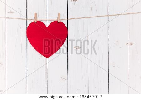 Blank Red Heart Hanging On White Wood With Space For Valentine And Wedding Background.