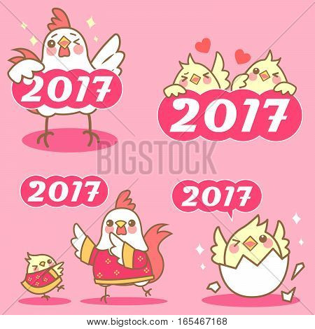 cartoon chicken with happy chinese new year