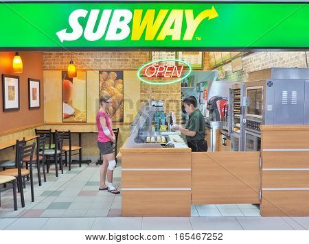 Bangkok, Thailand - June 5,2016: SUBWAY restaurant at Don Mueang International Airport in Bangkok. SUBWAY brand is the world's largest submarine sandwich chain with more than 44,000 locations.