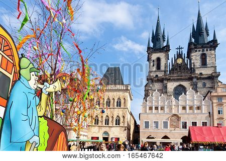 CZECH REPUBLIC PRAGUE - MARCH 2016: famous easter market Old town square Prague Czech republic. Traditional celebration of easter holiday in historical center of Prague (UNESCO).