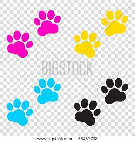 Animal Tracks Sign. Cmyk Icons On Transparent Background. Cyan,