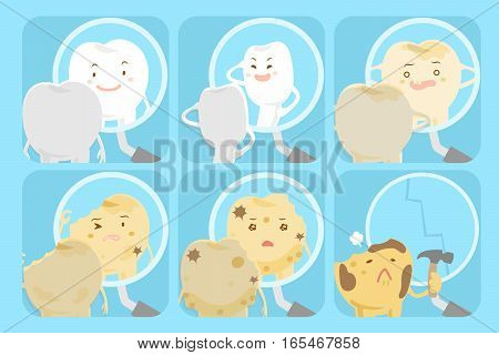 different cartoon tooth look at the mirror with problems