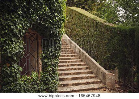Barcelona, Spain - April 22, 2016: Retro Style Details In Parc Del Laberint Horta