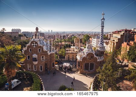 Barcelona, Spain - April 23, 2016: Park Guell By Architect Antoni Gaudi. Panorama Of City Of Barcelo