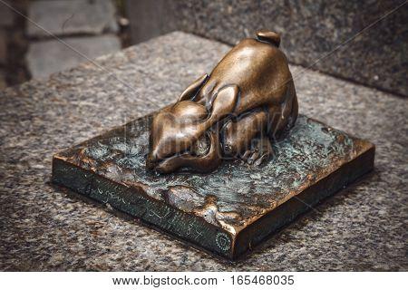 Nuremberg, Germany - April 26, 2016: Metal Sculpture Of Rabbit Near Albrecht Durer Museum