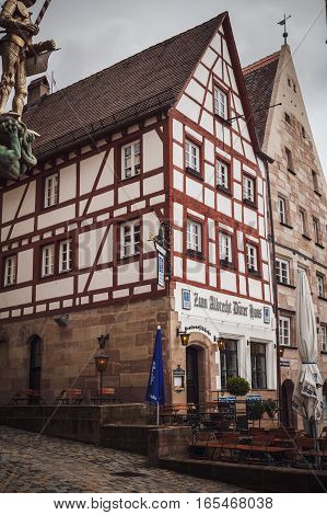 Nuremberg, Germany - April 26, 2016: Old Town Of Nuremberg Over Pegnitz