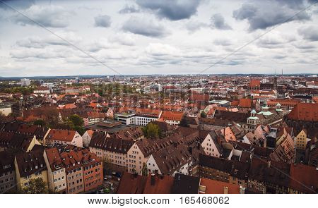 Nuremberg, Germany - April 26, 2016. View Over Nuremberg From The Top Of Sinwell Tower Of Kaiserburg