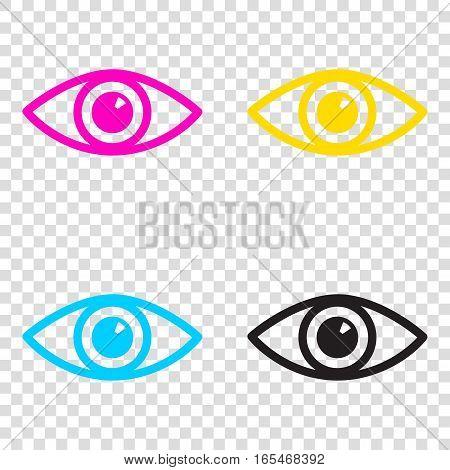 Eye Sign Illustration. Cmyk Icons On Transparent Background. Cya