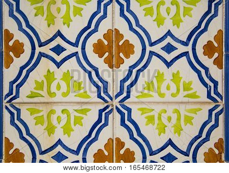 Ceramic tile with a pattern. Textures. Portugal. Lisbon. Azulejo