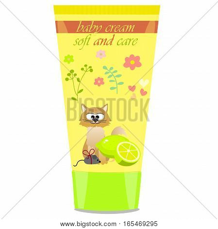 High quality original trendy vector Baby cream tube with kids design and cat, lime illustration