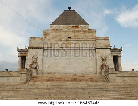 MELBOURNE, AUSTRALIA - JANUARY 28, 2016: The Shrine of Remembrance in Melbourne, Australia.The Shrine of Remembrance was built as a memorial to the men and women of Victoria who served in World War I