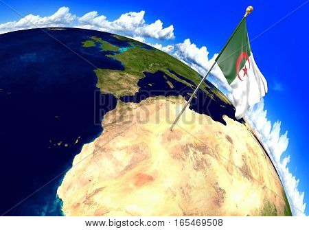 Algeria national flag marking the country location on world map. 3D rendering, parts of this image furnished by NASA
