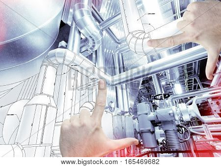 Hands Framing Factory Design. Drawing And Industrial Equipment Photo Combination