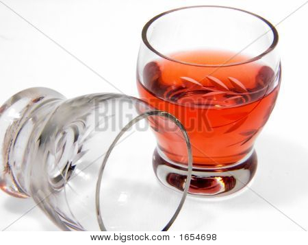 Bottle With Alcohol And Wine-Glasses