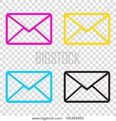 Letter Sign Illustration. Cmyk Icons On Transparent Background.