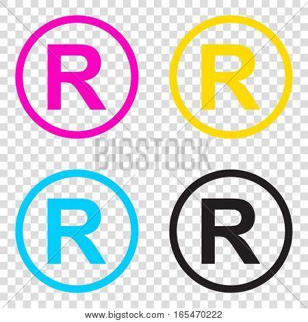 Registered Trademark Sign. Cmyk Icons On Transparent Background.