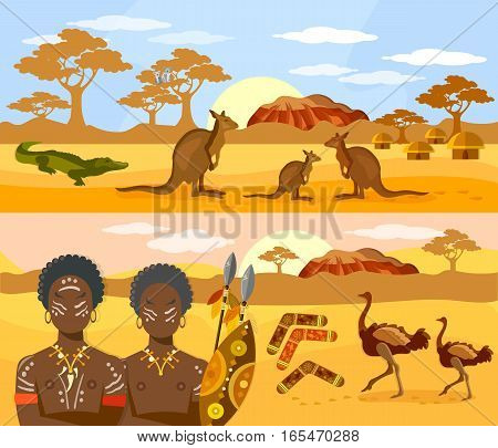 Australia travel banner. Australia people and animals kangaroo ostrich. Australian aborigines