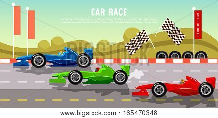 Car racing banner. Tyre drift on race circuit finish line. Motor racing cars on a start line formula car speeding racing in cars.