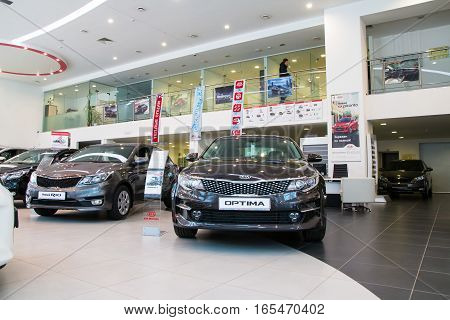 Showroom And Car Kia Of Dealership Kia-zentr Kirov In Kirov City In 2016