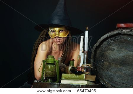 Stylized portrait of a girl . Spiritual evening