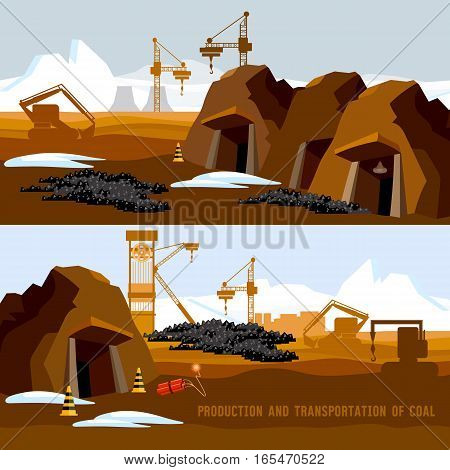 Coal mine banner process of coal mining bulldozers conveyor cartoon. Excavator working on open pit coal mine