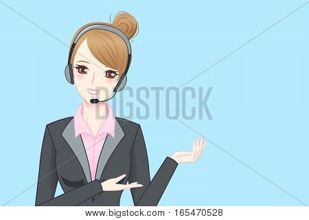 beauty cartoon business woman wear phone headset and show something to you