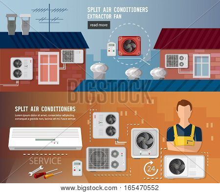 Installation of air conditioners banner. Split system check ventilation systems air conditioner installment and air conditioning repair