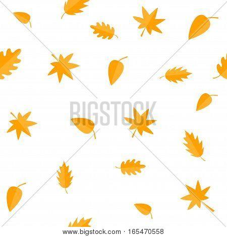 Autumn leaves. Yellow orange leaf set. Oak maple birch rowan Seamless Pattern Wrapping paper textile template. White background. Flat design. Vector illustration