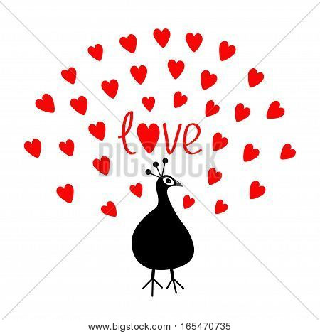 Peacock Open red heart set tail. Word Love text. Zoo animal collection. Exotic tropical bird. Cute cartoon character. Happy Valentines Day. Greeting card. White background. Flat design. Vector