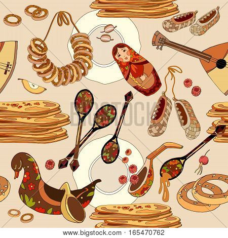 Russian cuisine seamless pattern. Hand drawn Russia national food traditional background